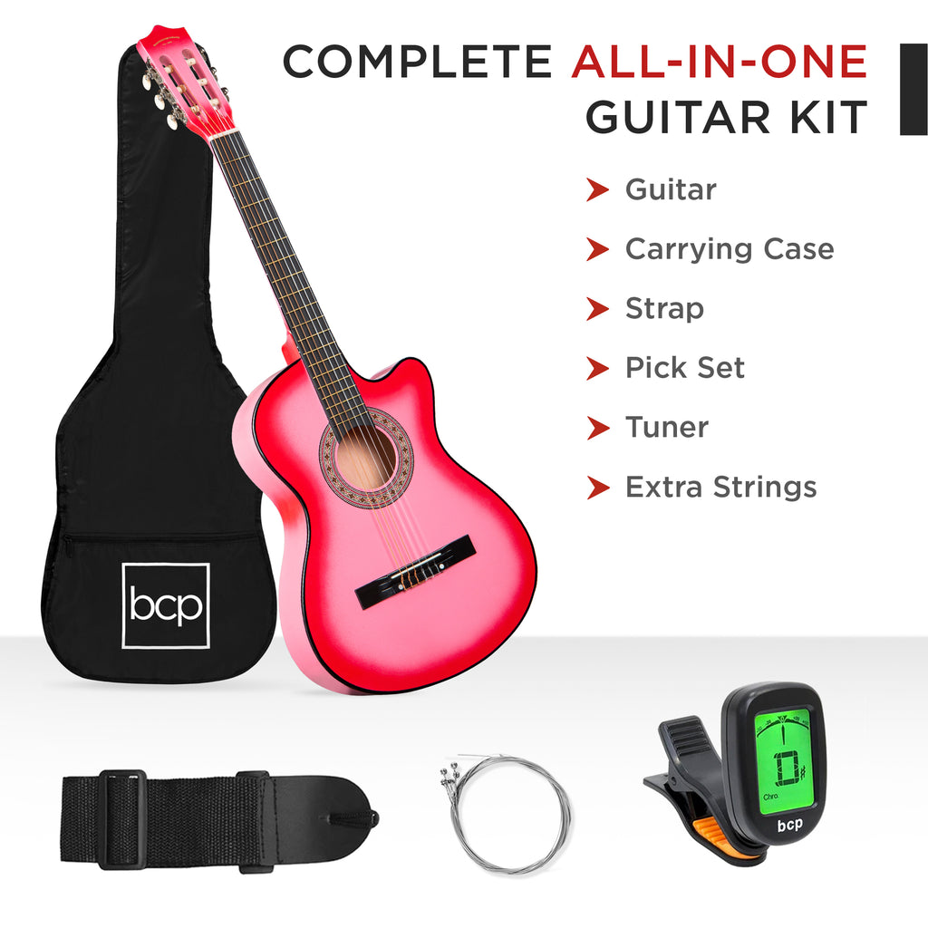 Beginner Acoustic Cutaway Guitar Set w/ Case, Strap, Capo - 38in