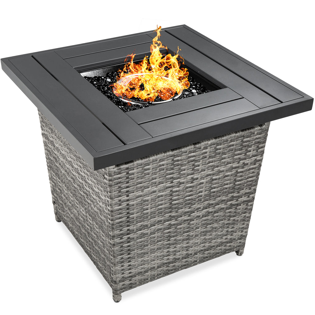 28in Fire Pit Table 50,000 BTU Wicker Propane w/ Faux Wood Tabletop, Cover