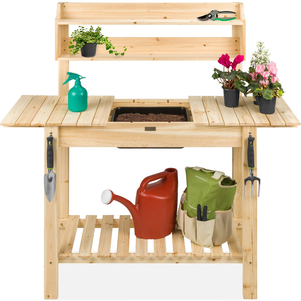 Wood Garden Potting Bench w/ Sliding Tabletop, Food Grade Dry Sink
