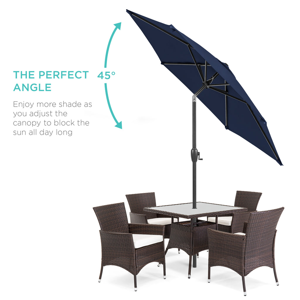 7.5ft Outdoor Market Patio Umbrella w/ Push Button Tilt, Crank Lift