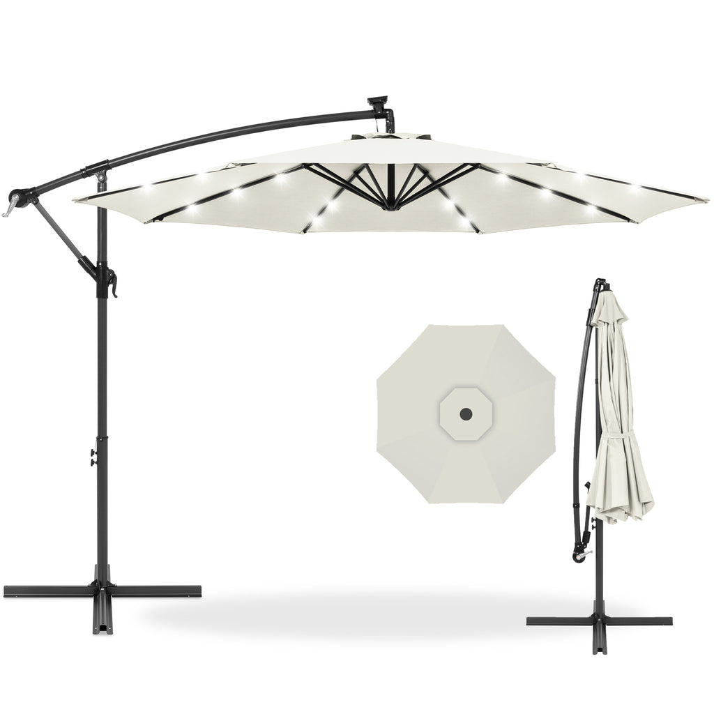 10ft Solar LED Offset Hanging Patio Umbrella w/ Crank Tilt Adjustment