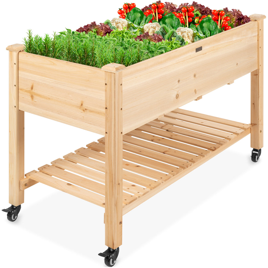 Mobile Raised Garden Bed Elevated Wood Planter