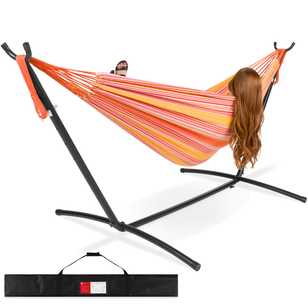 2-Person Brazilian-Style Double Hammock w/ Carrying Bag and Steel Stand