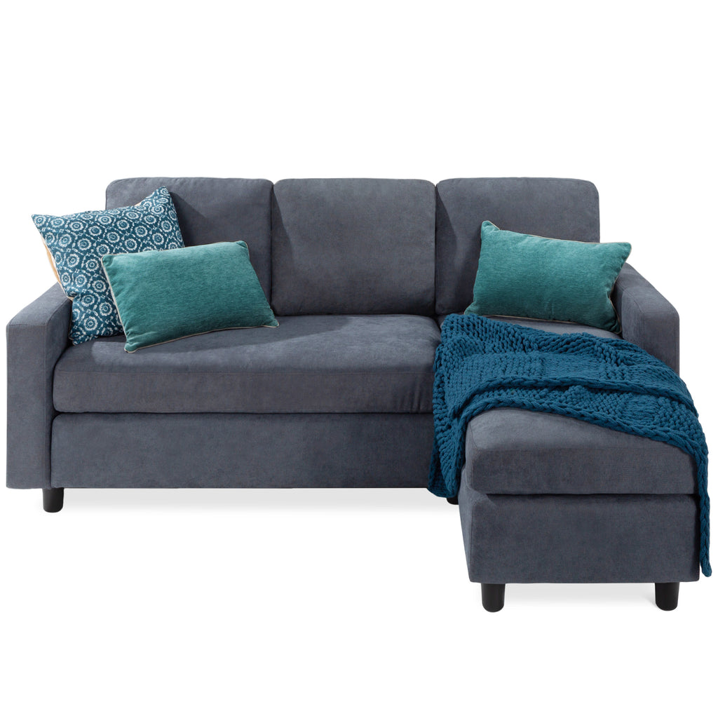 Linen Sectional Sofa Couch w/ Chaise Lounge, Reversible Ottoman Bench