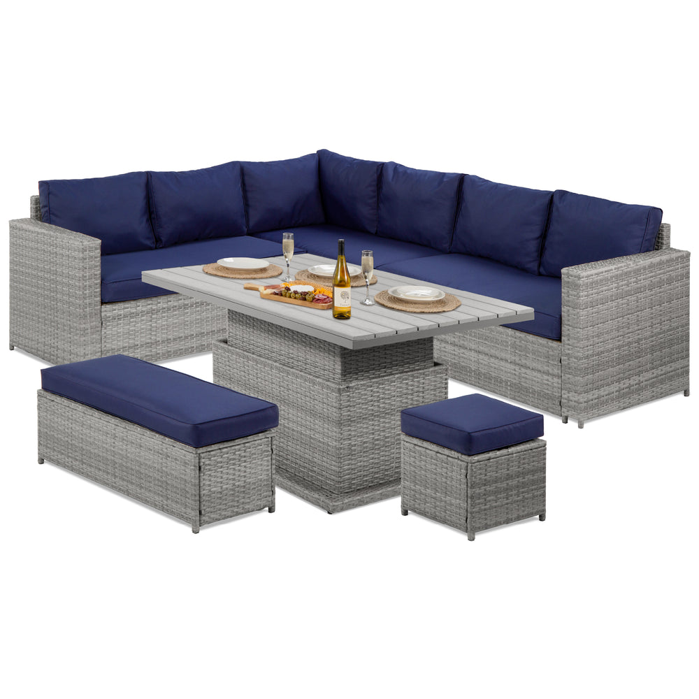 6-Piece Wicker Patio Furniture Set w/ Height-Adjustable Dining Table