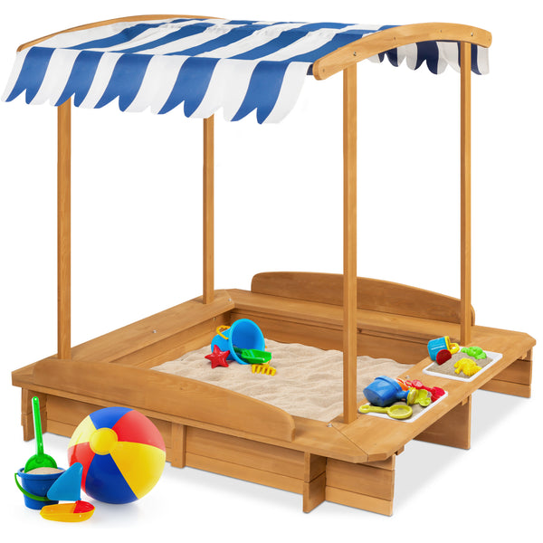Kids Wooden Cabana Sandbox w/ Benches, Canopy Shade, Sand Cover, 2 Buckets! 9.99 (REG 9.99) + Free Shipping at Best Choice Products!