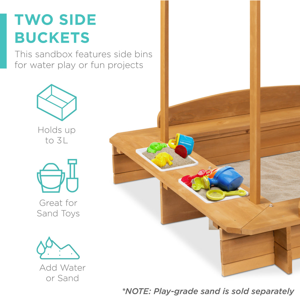 Kids Wooden Cabana Sandbox w/ Benches, Canopy Shade, Sand Cover, 2 Buckets