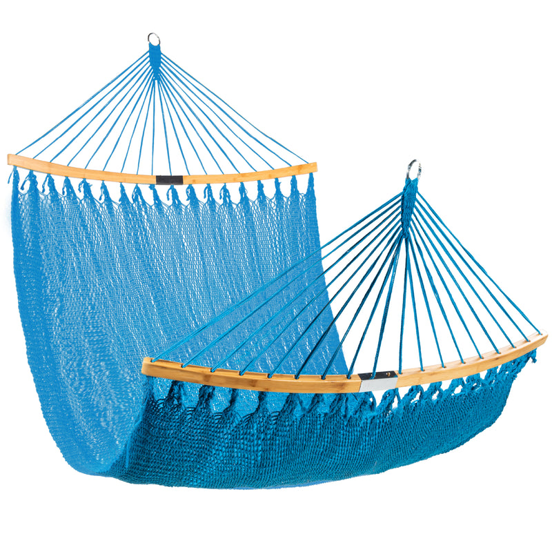 2-Person Woven Polyester Hammock w/ Curved Bamboo Spreader Bar, Carry Bag $39.99