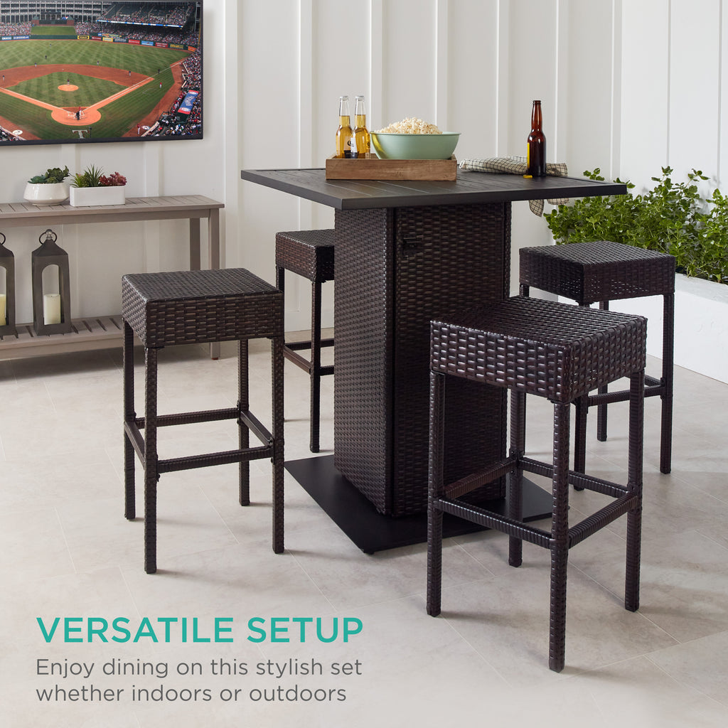 5-Piece Wicker Bar Set w/ 4 Stools, Built-In Bottle Opener, Hidden Storage