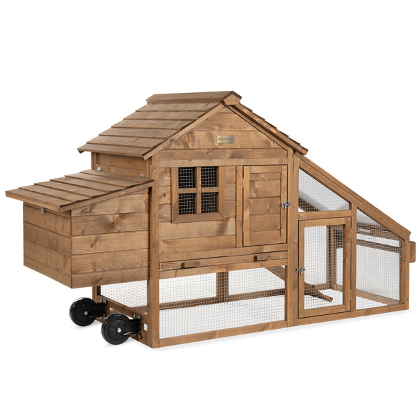 Mobile Wood Chicken Coop Tractor w/ Wheels, 2 Doors, Nest Box! 9.99 (REG 9.99) + Free Shipping at Best Choice Products!
