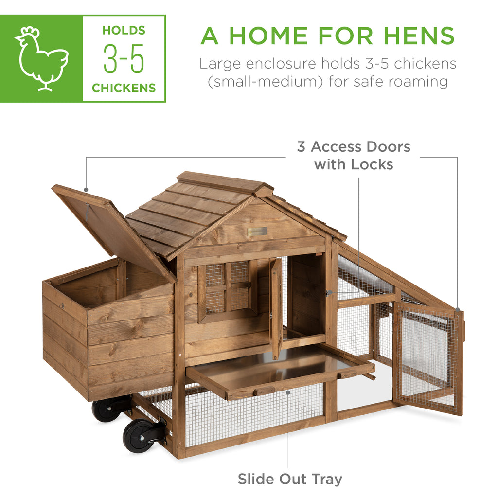 Mobile Wood Chicken Coop w/ Wheels, 2 Doors, Nest Box, UV Panel - 70in