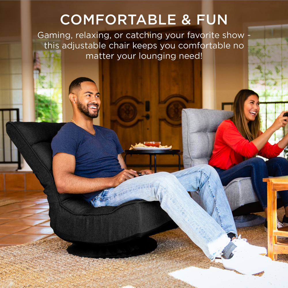 Folding Floor Gaming Chair w/ 360-Degree Swivel, 4 Adjustable Positions