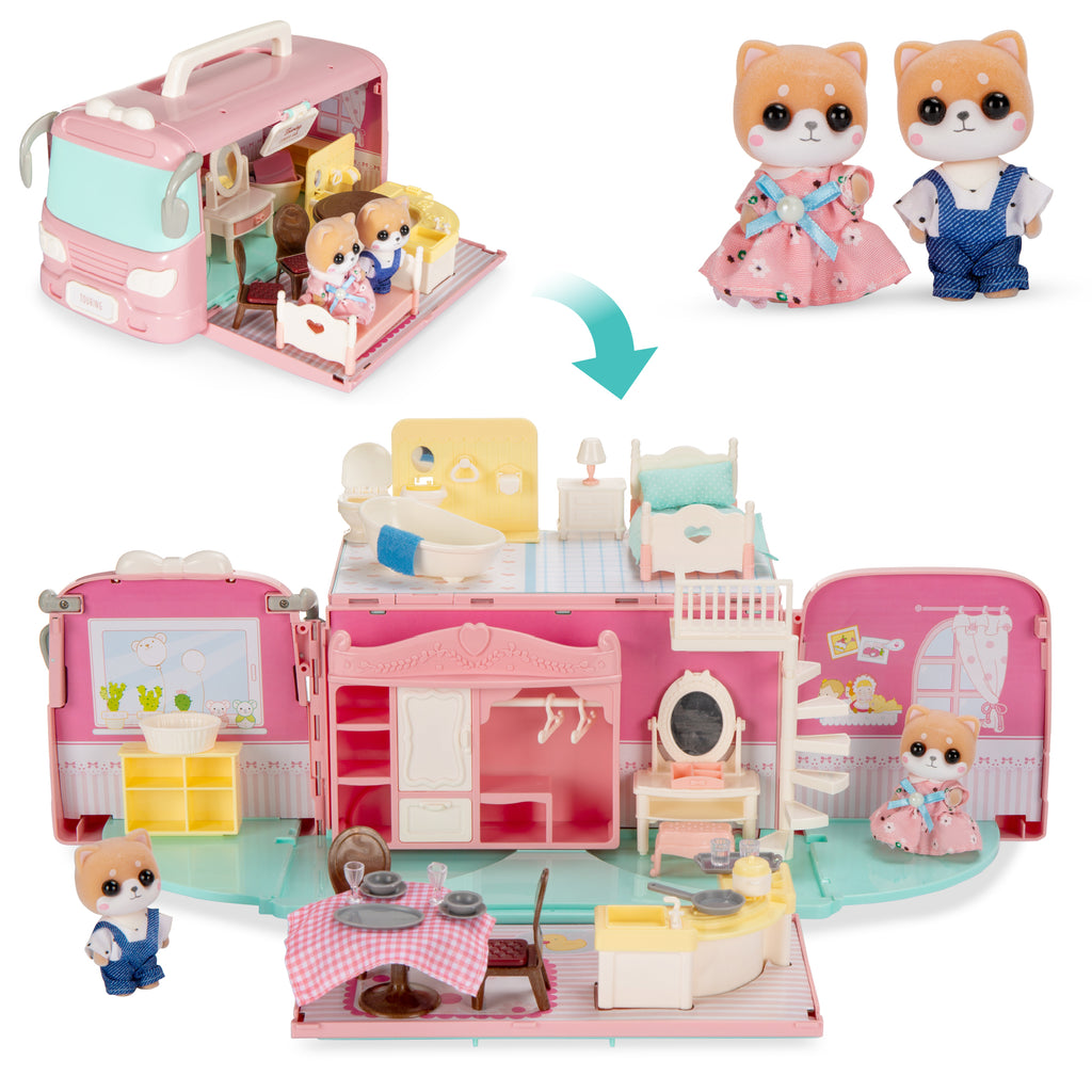 Camper Van Playset Pretend Play Dollhouse with Tiny Critters