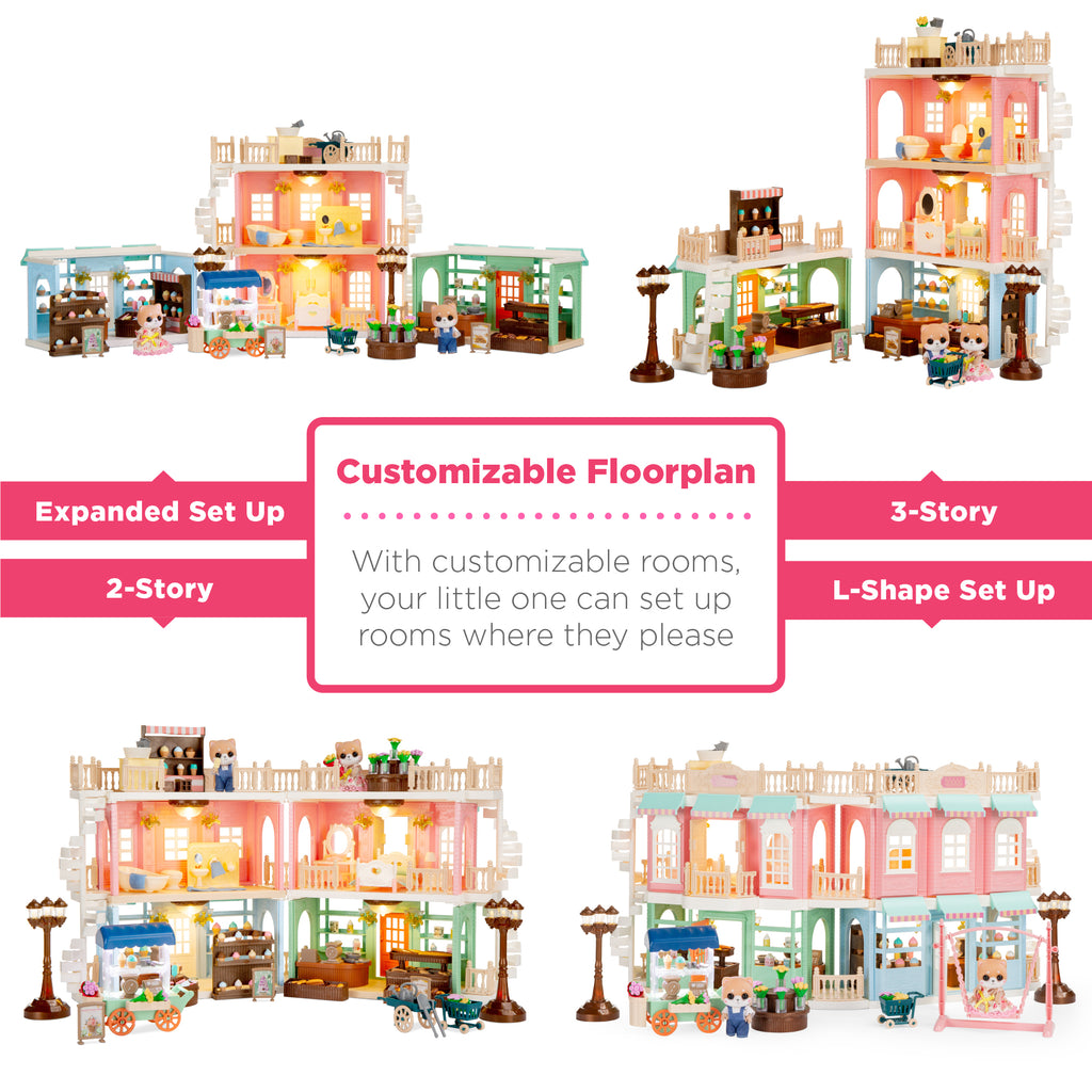 Deluxe Cottage Dollhouse Mansion Pretend Toy Playset w/ Tiny Critters