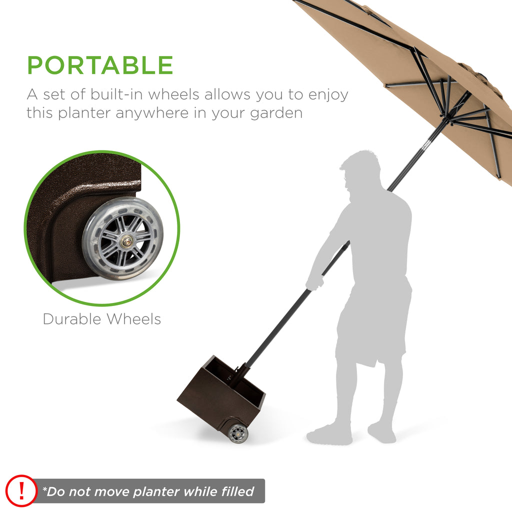Portable Steel Umbrella Base Stand Up to 150 lbs w/ Fillable Planter, Wheels