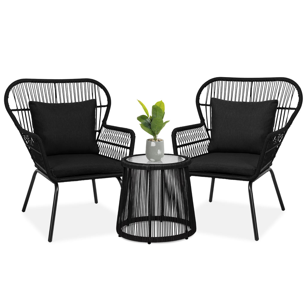 3-Piece Patio Wicker Conversation Bistro Set w/ 2 Chairs, Table, Cushions