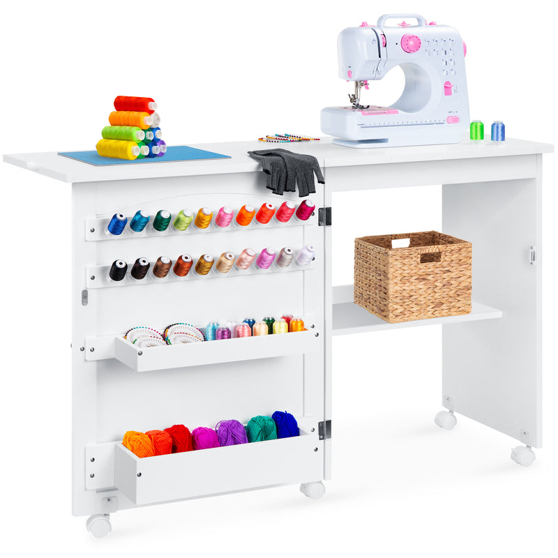 Best Choice Products Folding Sewing Table with Wheels