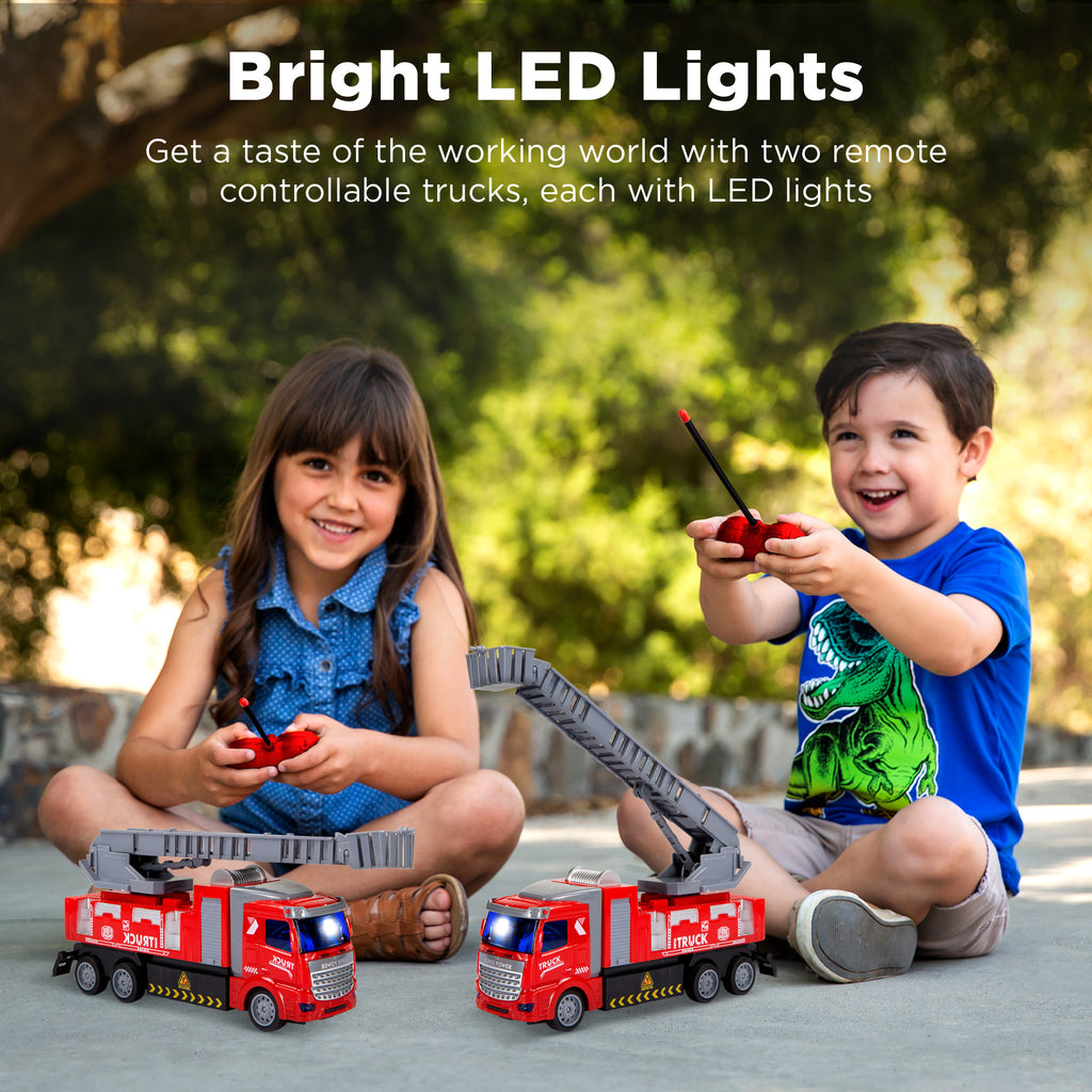2-Pack Remote Control RC Fire Trucks with LED Lights for Kids