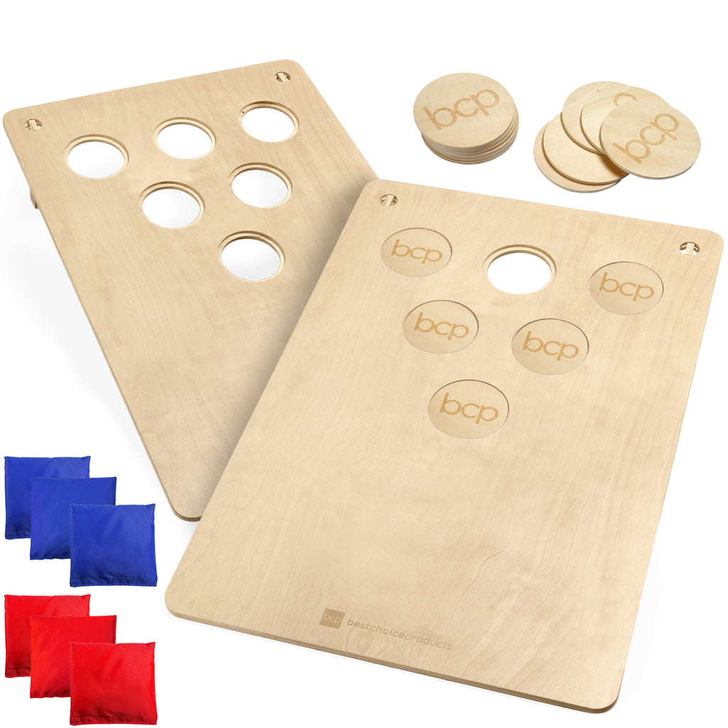 2-In-1 Cornhole & Beer Pong Board Game Set w/ 2 Carrying Bags, 6 Bean Bags