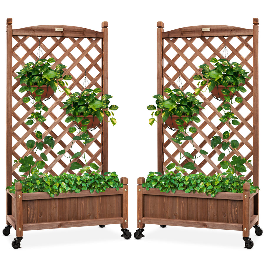 2-Count Best Choice Products Wood Planter Box & Lattice Trellis