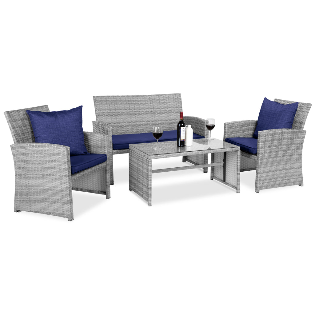 4-Piece Outdoor Wicker Conversation Patio Set w/ 4 Seats, Glass Tabletop