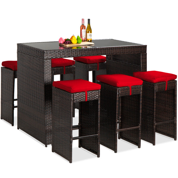 7-Piece Wicker Bar Patio Dining Set w/ Glass Table Top, 6 Stools
