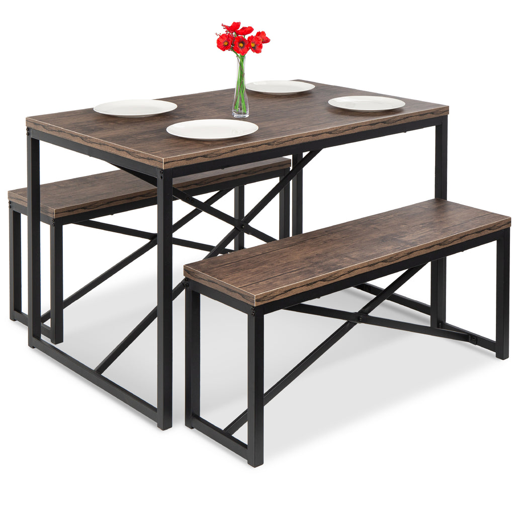3-Piece Bench Style Dining Furniture Set w/ 2 Benches, Table - 45.5in
