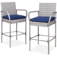 Deals on Set Of 2 Indoor Outdoor Wicker Bar Stools