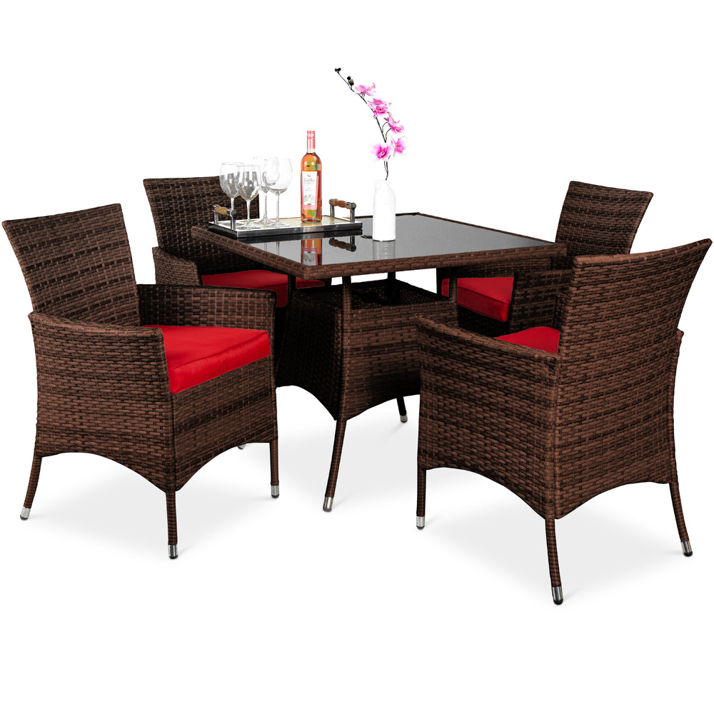 5-Piece Wicker Patio Dining Table Set w/ 4 Chairs