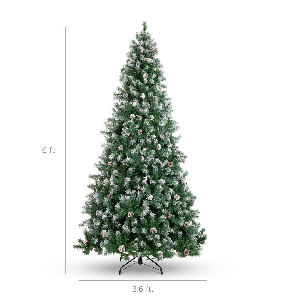 Pre Decorated Christmas Tree W Pine Cones Flocked Branch Tips Best Choice Products