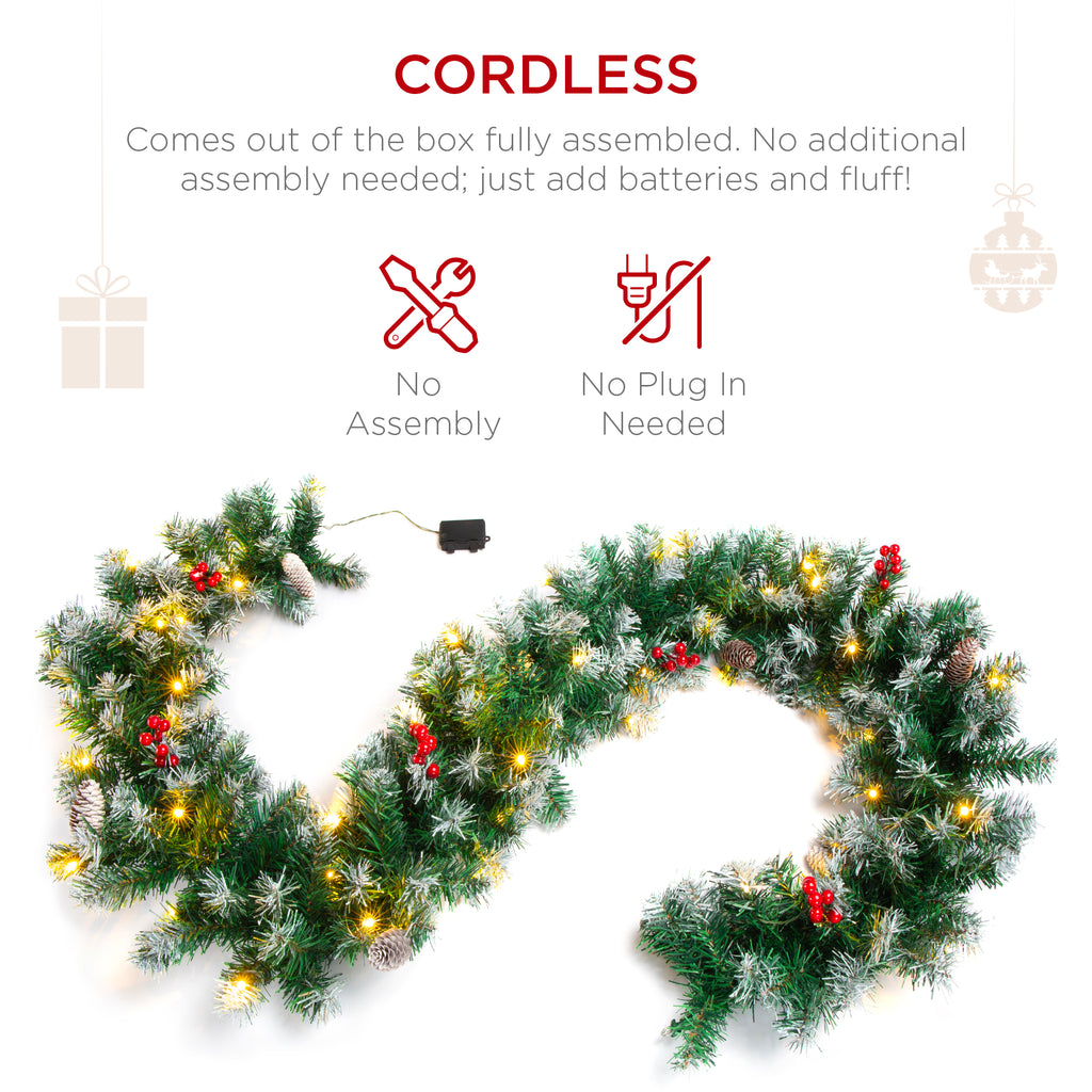 Pre-Lit Pre-Decorated Garland w/ 200 Partially Flocked Tips, 50 Lights - 9ft