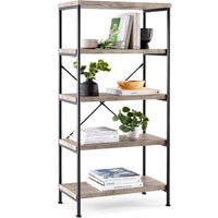 Deals on BCP 5-Tier Industrial Bookshelf w/ Metal Frame Wood Shelves
