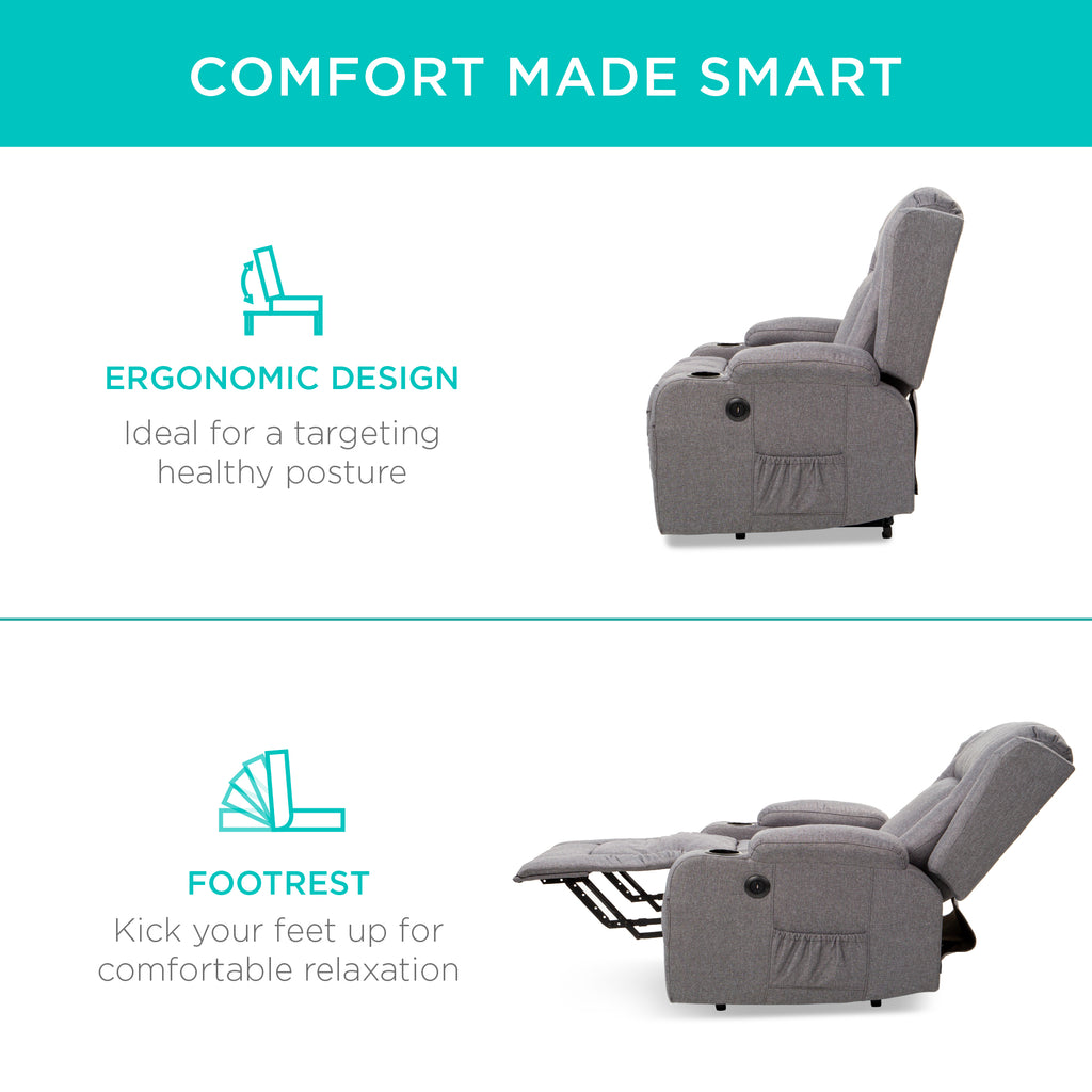 Electric Power Lift Recliner Massage Chair w/ Heat, USB Port, Cupholders