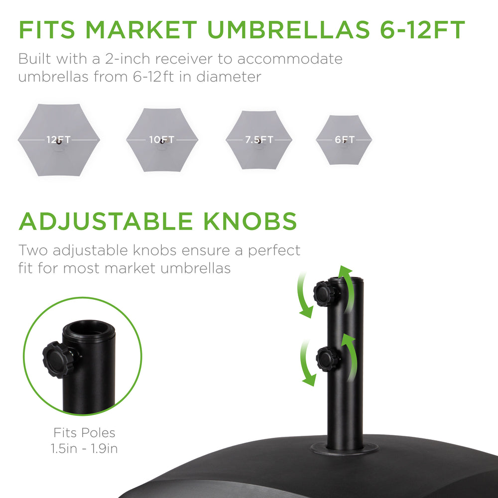 Fillable Mobile Umbrella Base Stand w/ 4 Wheels, 2 Locks, 137lb Capacity