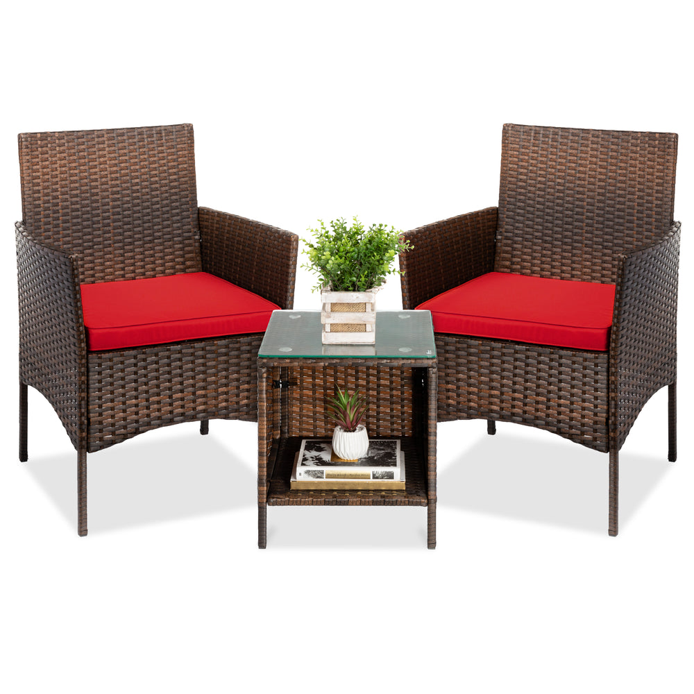 3-Piece Outdoor Patio Wicker Bistro Set w/ Side Storage Table