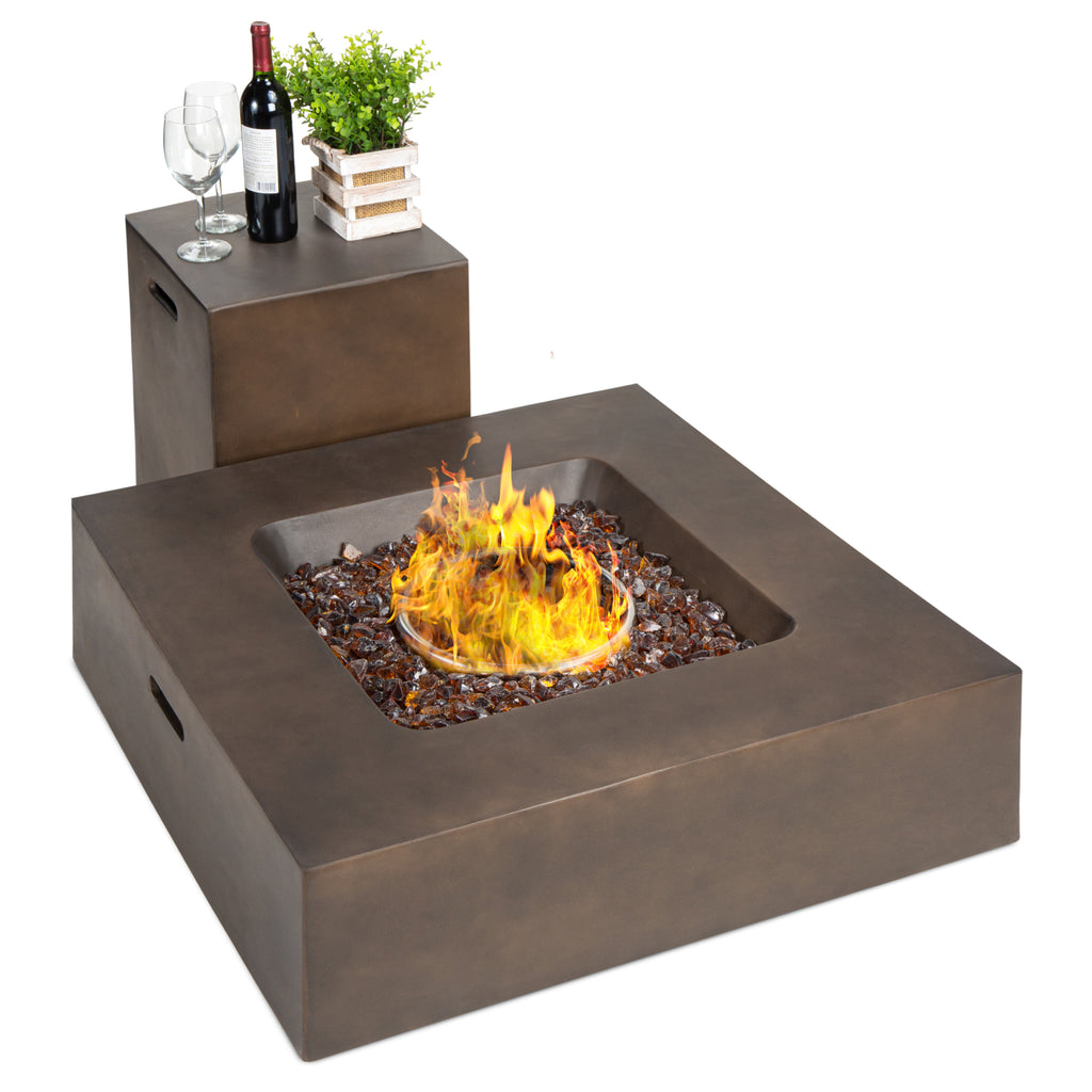 40,000 BTU Square Propane Fire Pit Table w/ Gas Tank Storage - 35x35in