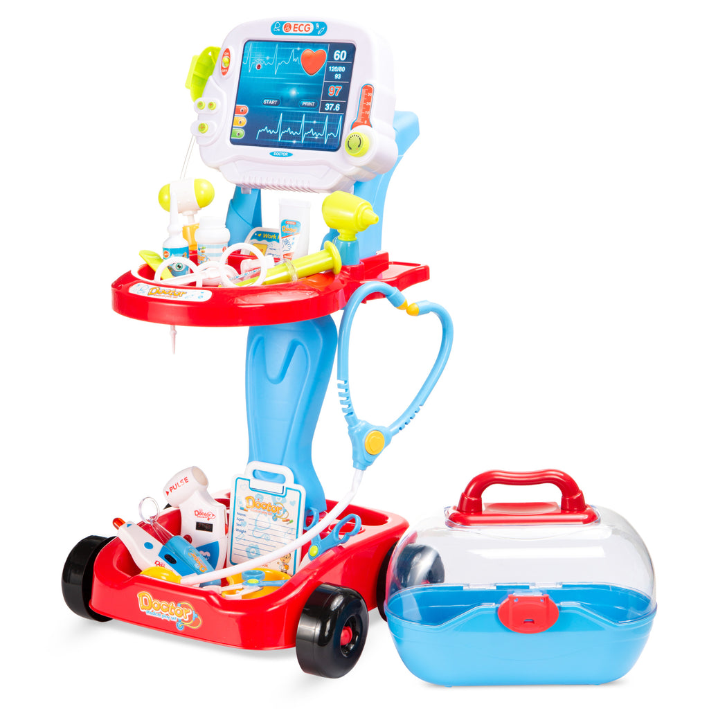 Play Doctor Kit for Kids, Boys & Girls with 17 Accessories, Mobile Cart
