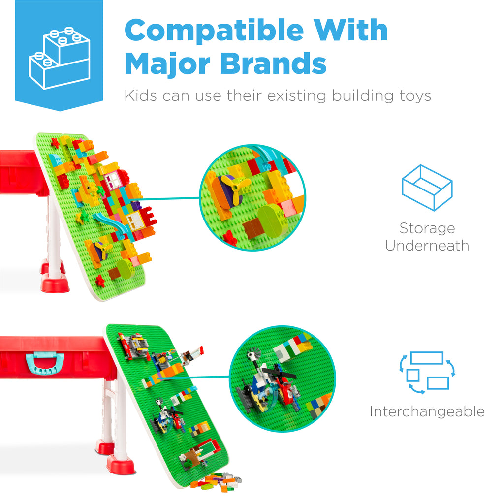 Kids 8-in-1 Activity Table Building Block Station