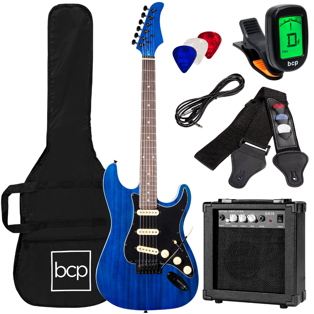 Beginner Electric Guitar Kit w/ Case, 10W Amp, Tremolo Bar - 39in