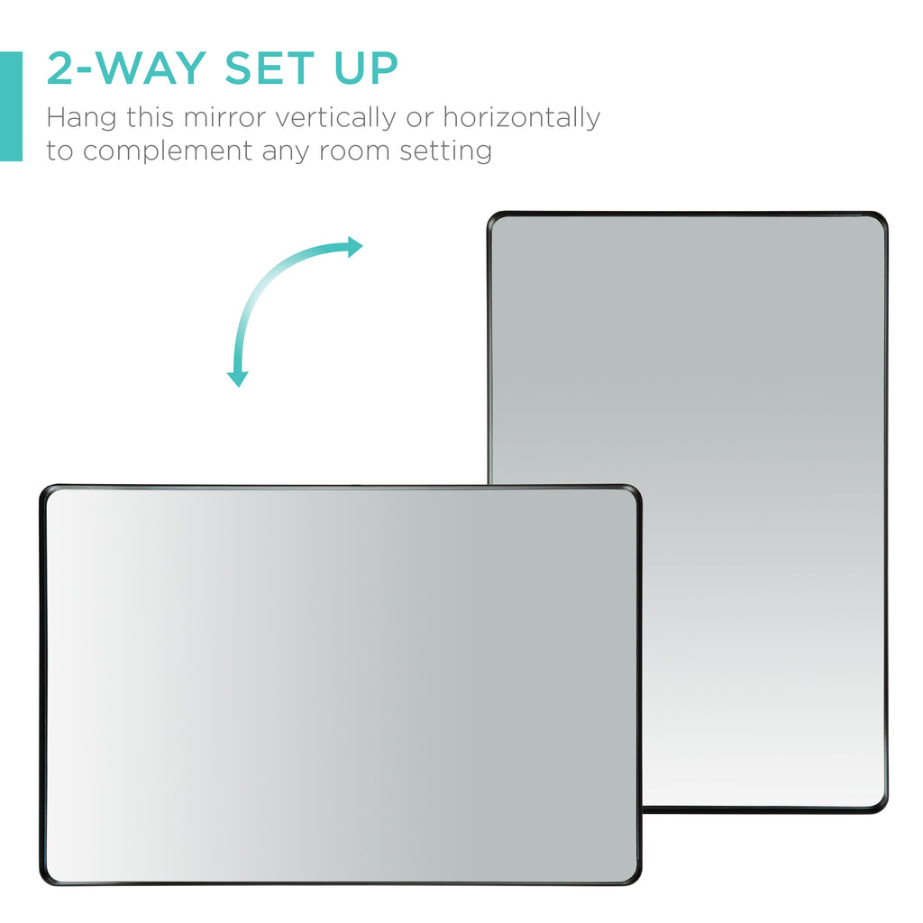 2-Way Rectangle Wall Mirror w/ Rounded Corners, Anti-Blast Film - 24x36in