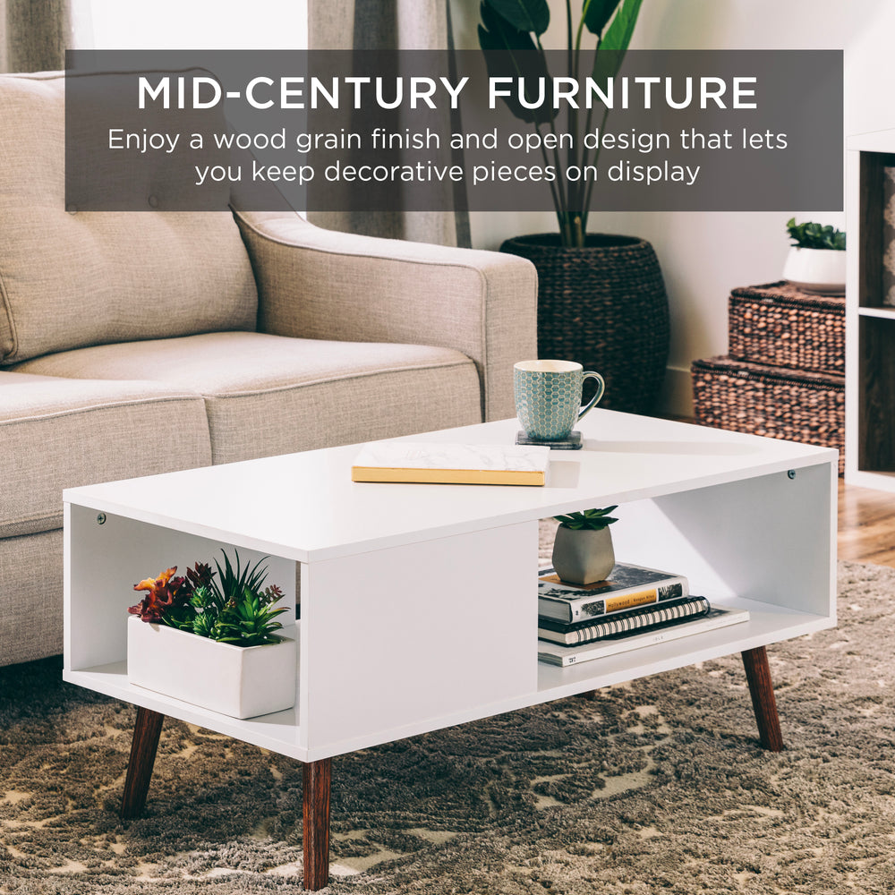 Wooden Mid-Century Modern Coffee Accent Table w/ Open Storage Shelf