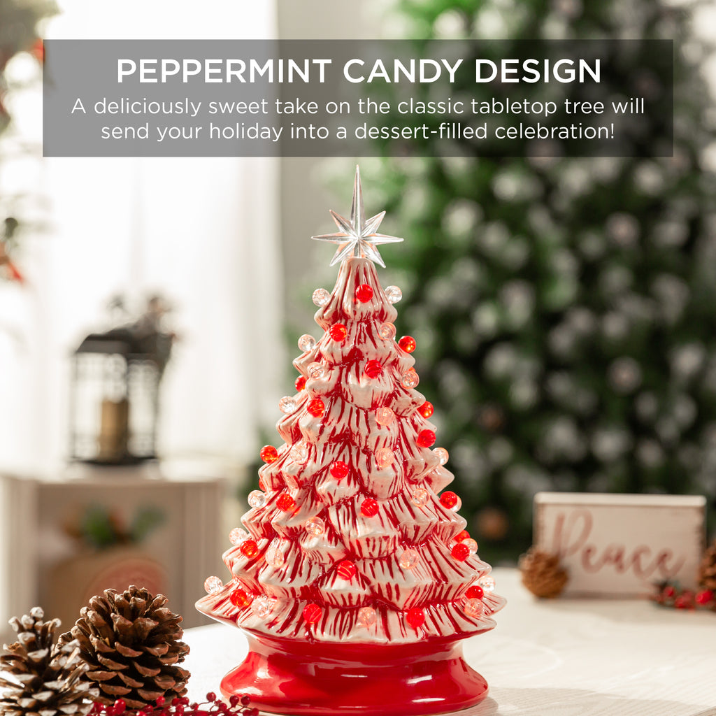 Pre-Lit Ceramic Peppermint Cane Tabletop Christmas Tree with Lights- 15in