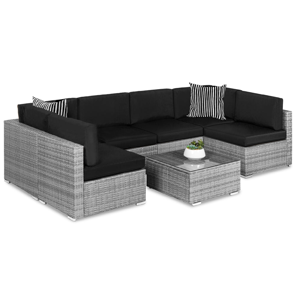 7-Piece Modular Wicker Sectional Conversation Set w/ 2 Pillows, Cover