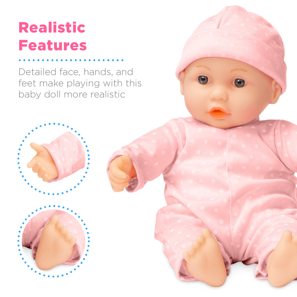 Realistic Baby Doll with Soft Body, Highchair, Potty, Accessories - 12.5in