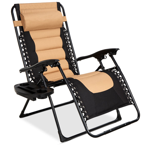 Oversized Padded Zero Gravity Chair, Folding Recliner w/ Headrest, Side Tray! .99 (REG 9.99) + Free Shipping at Best Choice Products!