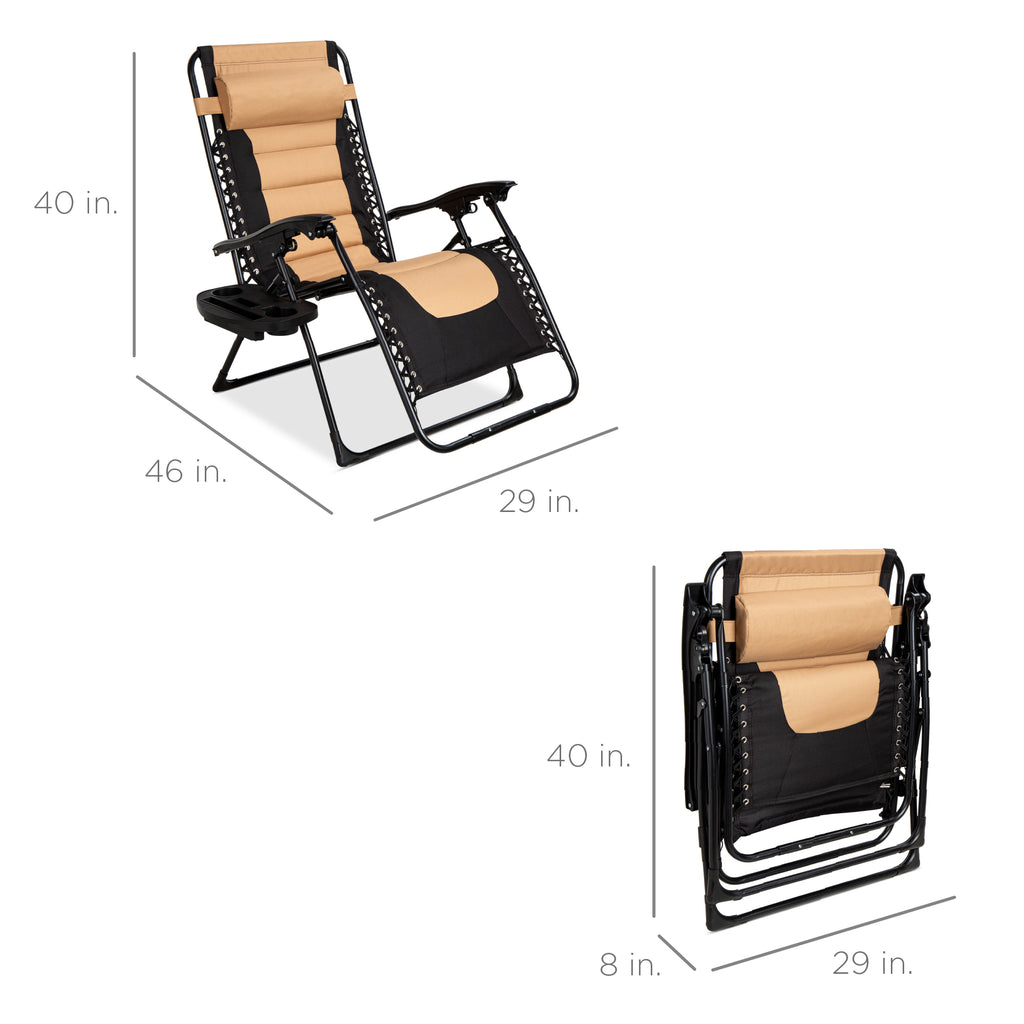 Oversized Padded Zero Gravity Chair, Folding Recliner w/ Headrest, Side Tray