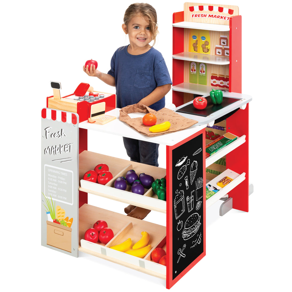 Kids Pretend Play Grocery Store Supermarket Toy Set w/ Accessories