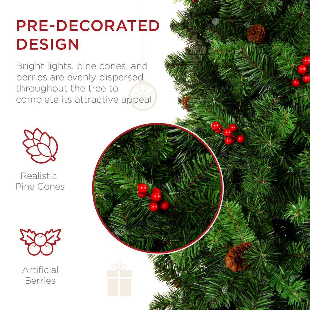 Pre-Decorated Spruce Pencil Christmas Tree w/ Berries, Pine Cones