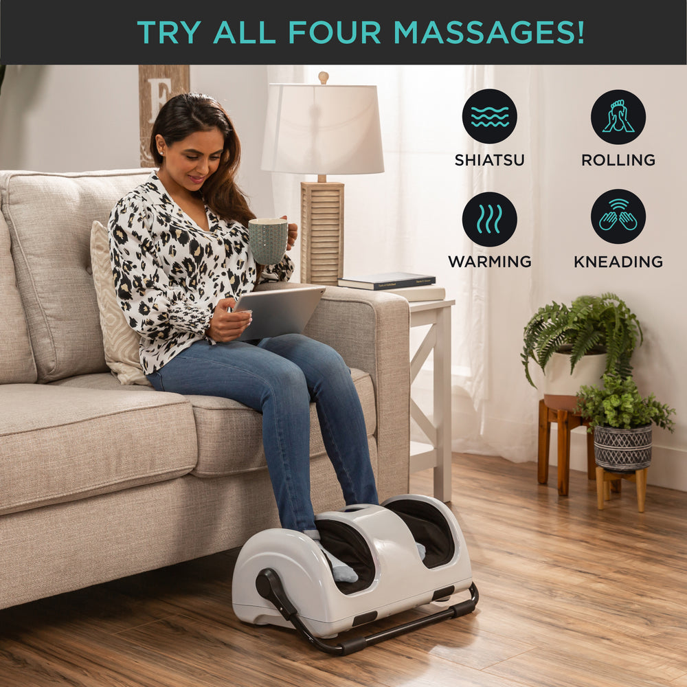 Reflexology Shiatsu Foot Massager w/ High-Intensity Rollers, Remote Control