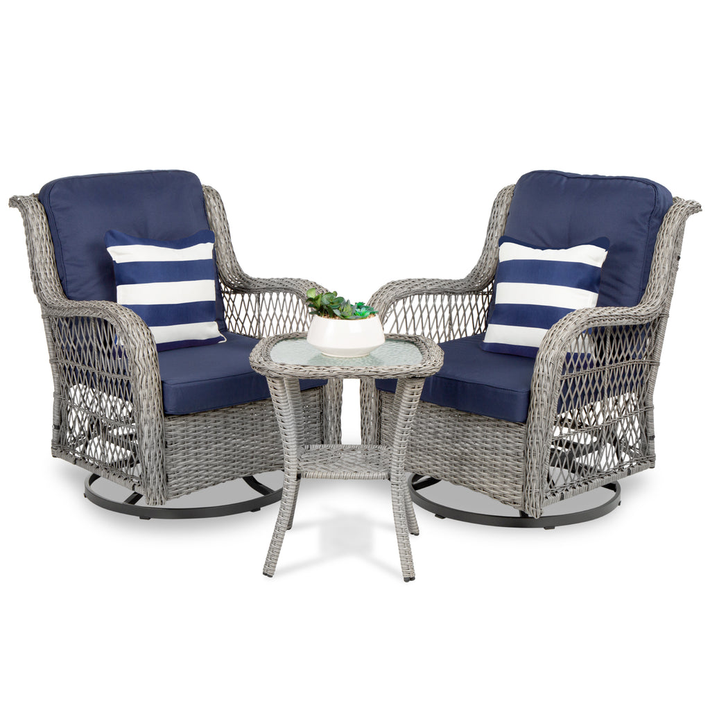 3-Piece Patio Wicker Bistro Furniture Set w/ 2 Swivel Rocking Chairs, Table